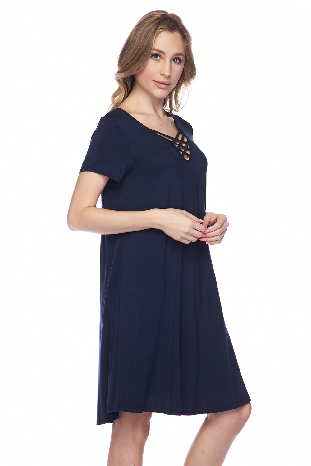 Modal Rounded Hem Dress Tunic Top