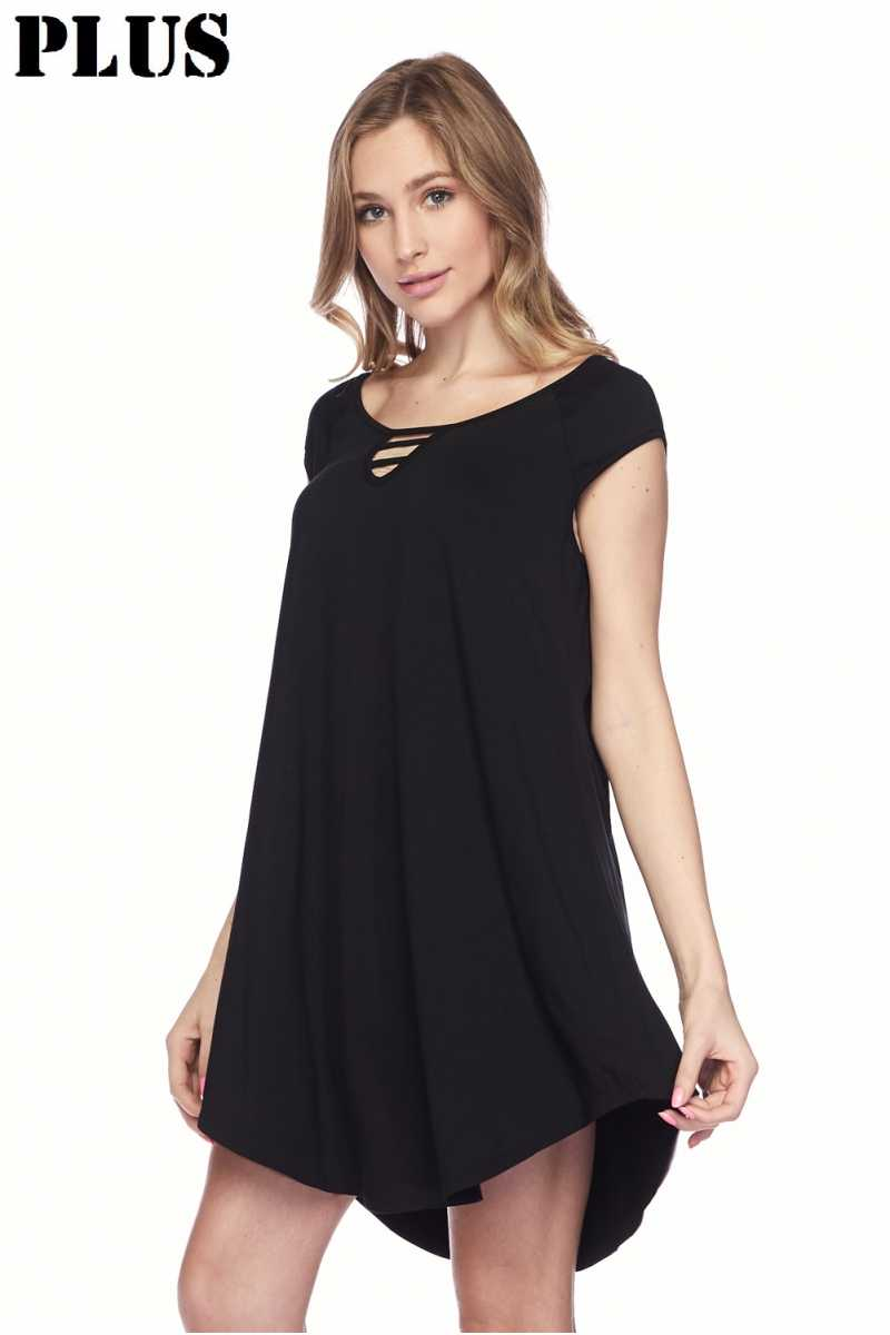 Plus Modal Rounded Hem Ladder Cutout Dress Tunic Top