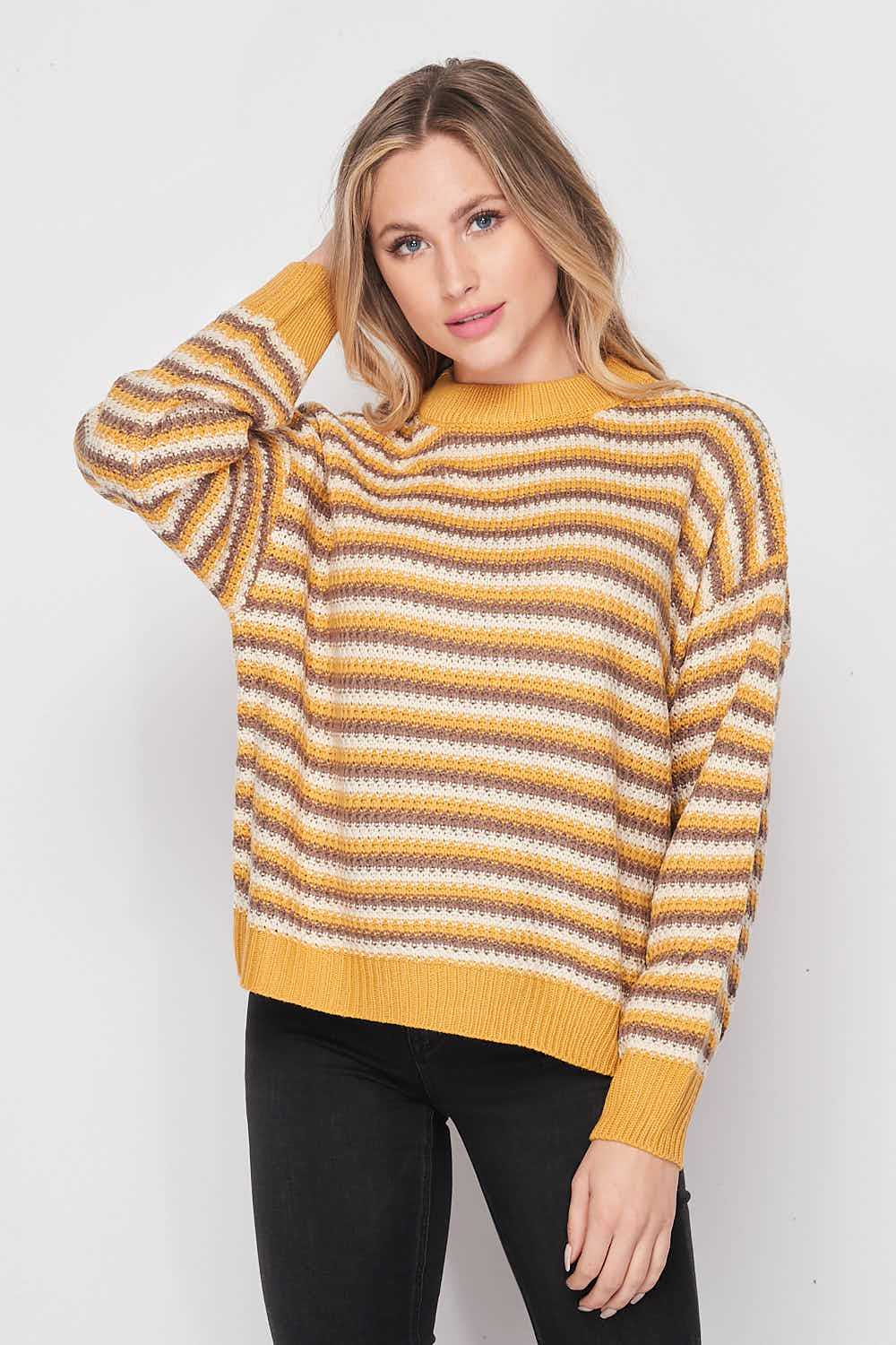 High Round Neck Waffle Knit Pullover Sweater