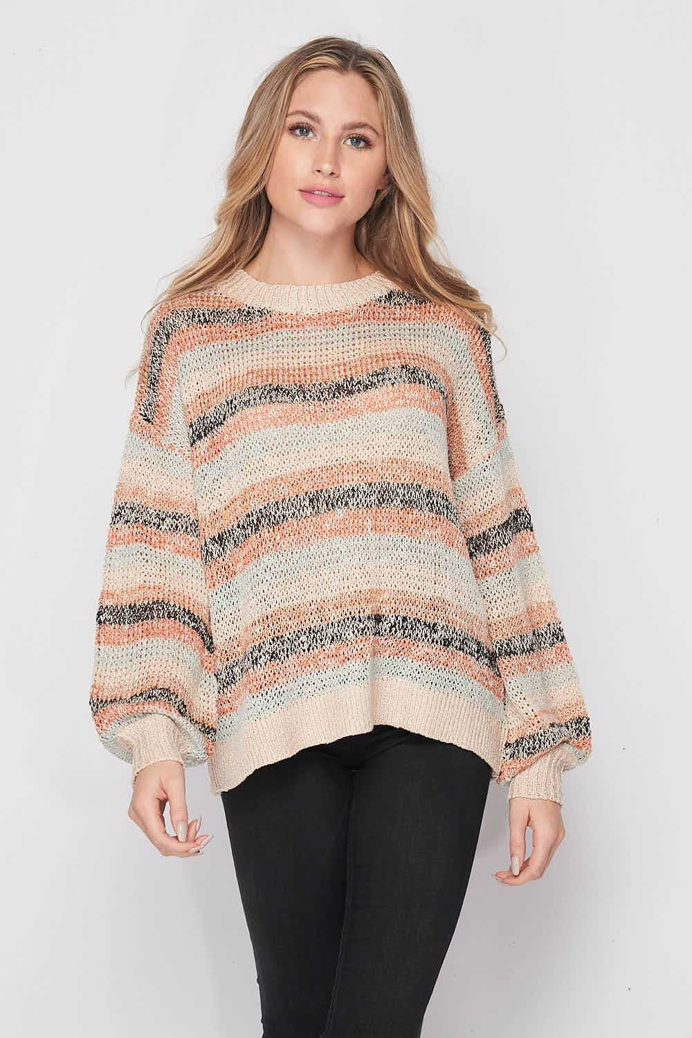 Striped Drop Shoulder Relaxed Fit Cable Knit