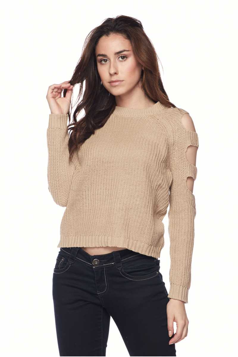 Solid Ladder Cutout Sleeve Sweater