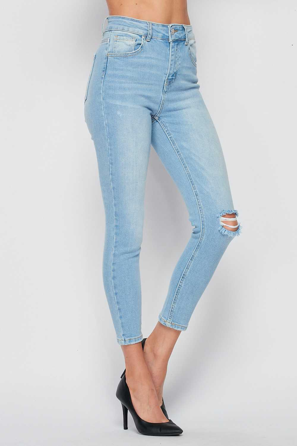 Cropped Washed Distressed Skinny Jeans