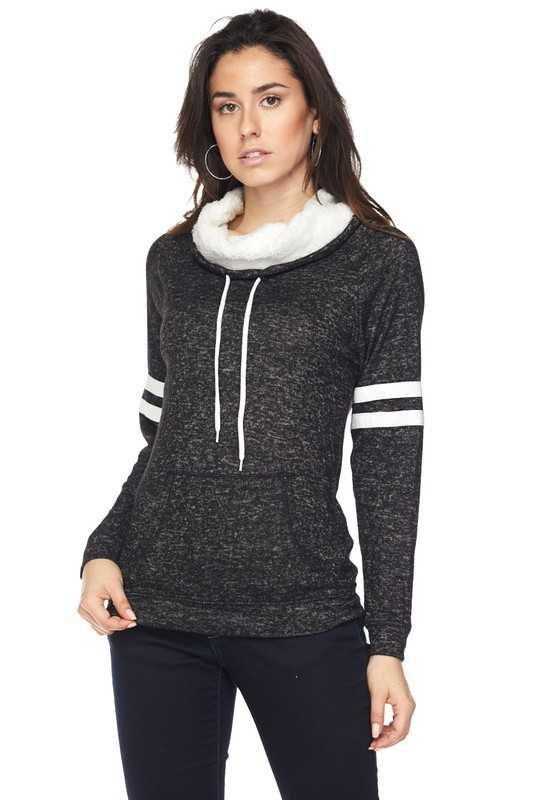 Sherpa Neck Varsity Stripe Pullover Top