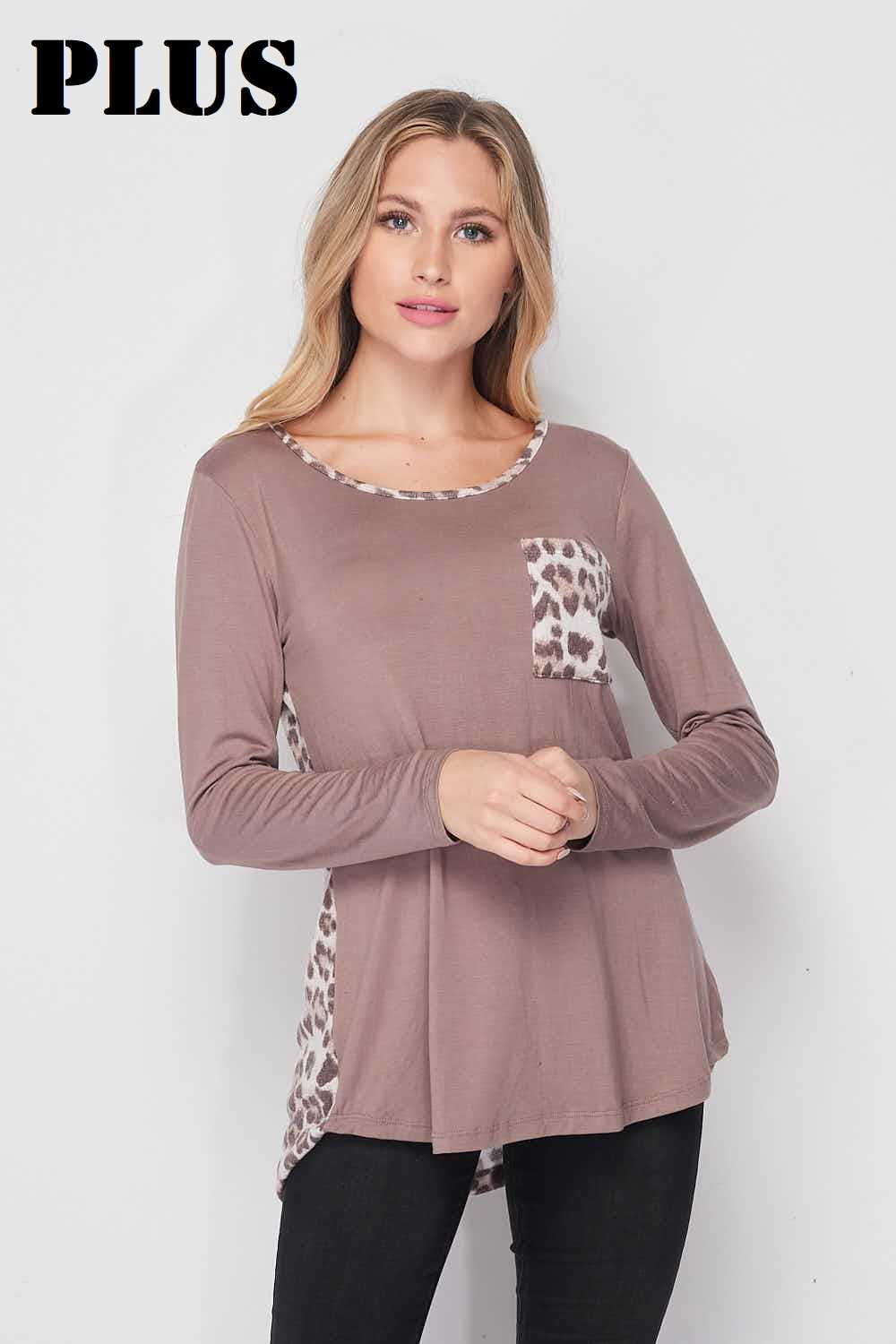 PLUS Solid Bodice Taupe Animal Detail Hilo Top