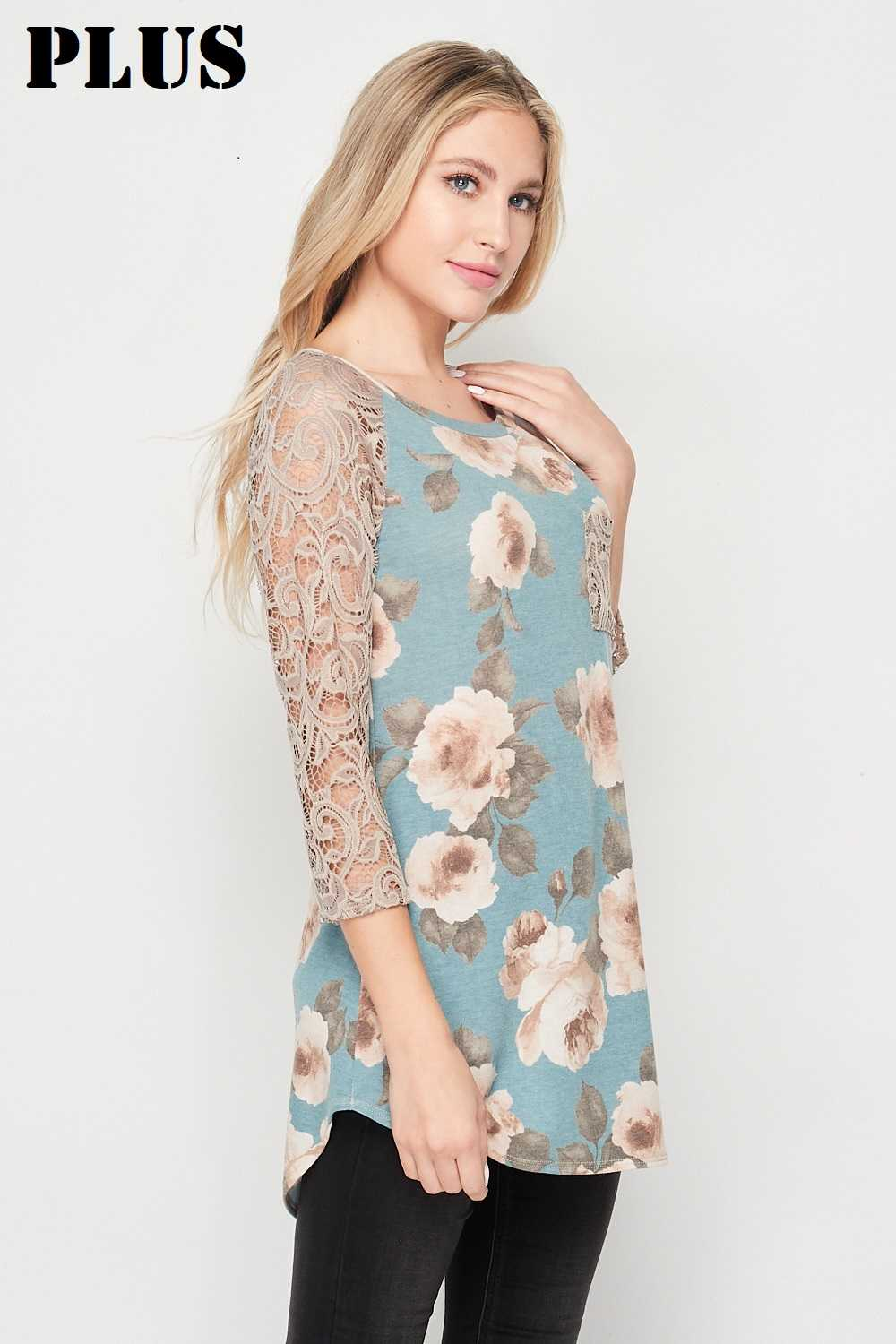 PLUS Sea Blue Lace Contrast 3/4 Sleeves Top