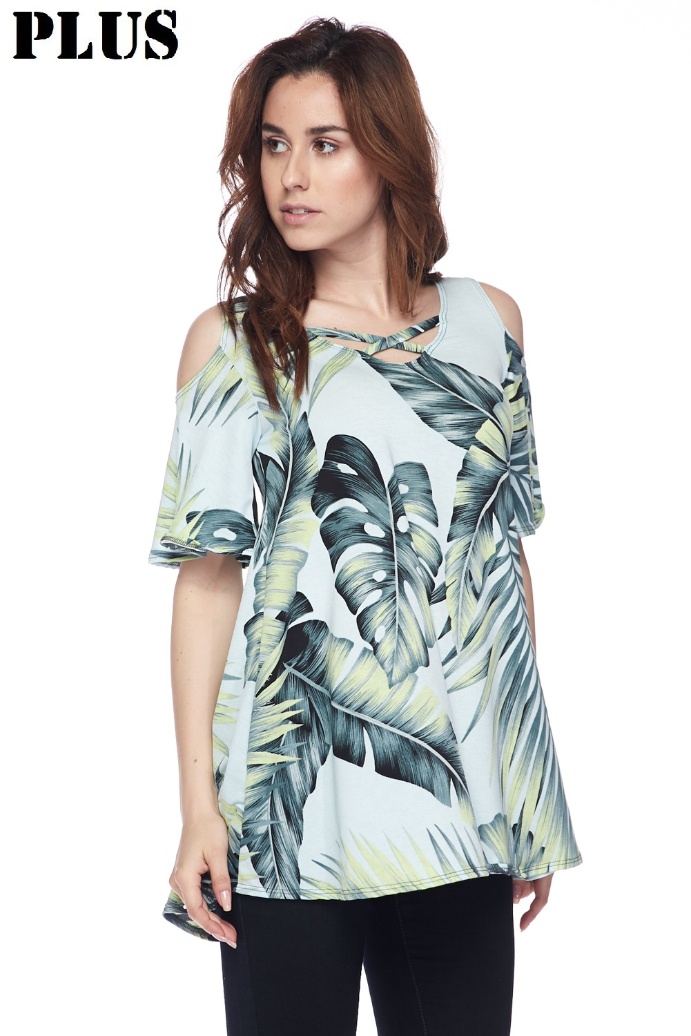 PLUS Tropical Forest Print Cold Shoulder Top
