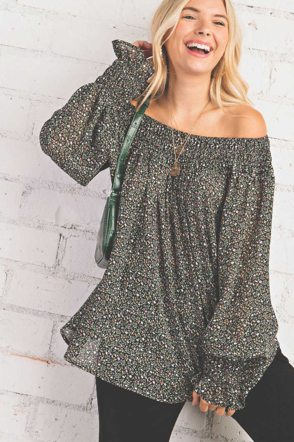 Relaxed Off the Shoulder Bell Sleeves Blouse