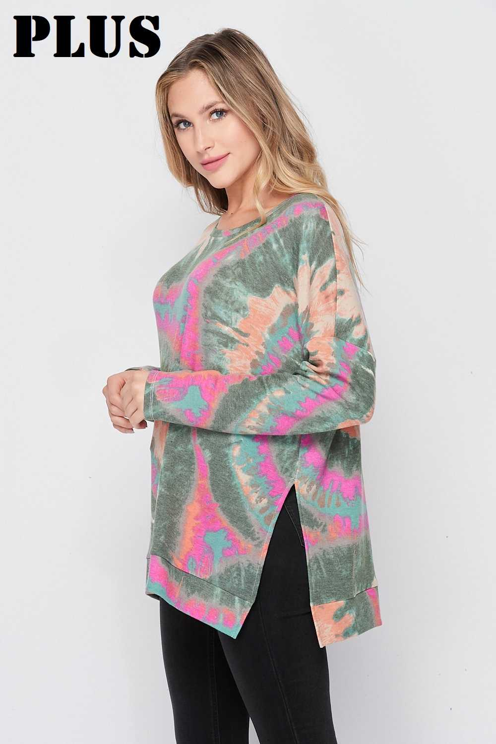 PLUS Jade Tie Dye Side Slit Thin Knit Top