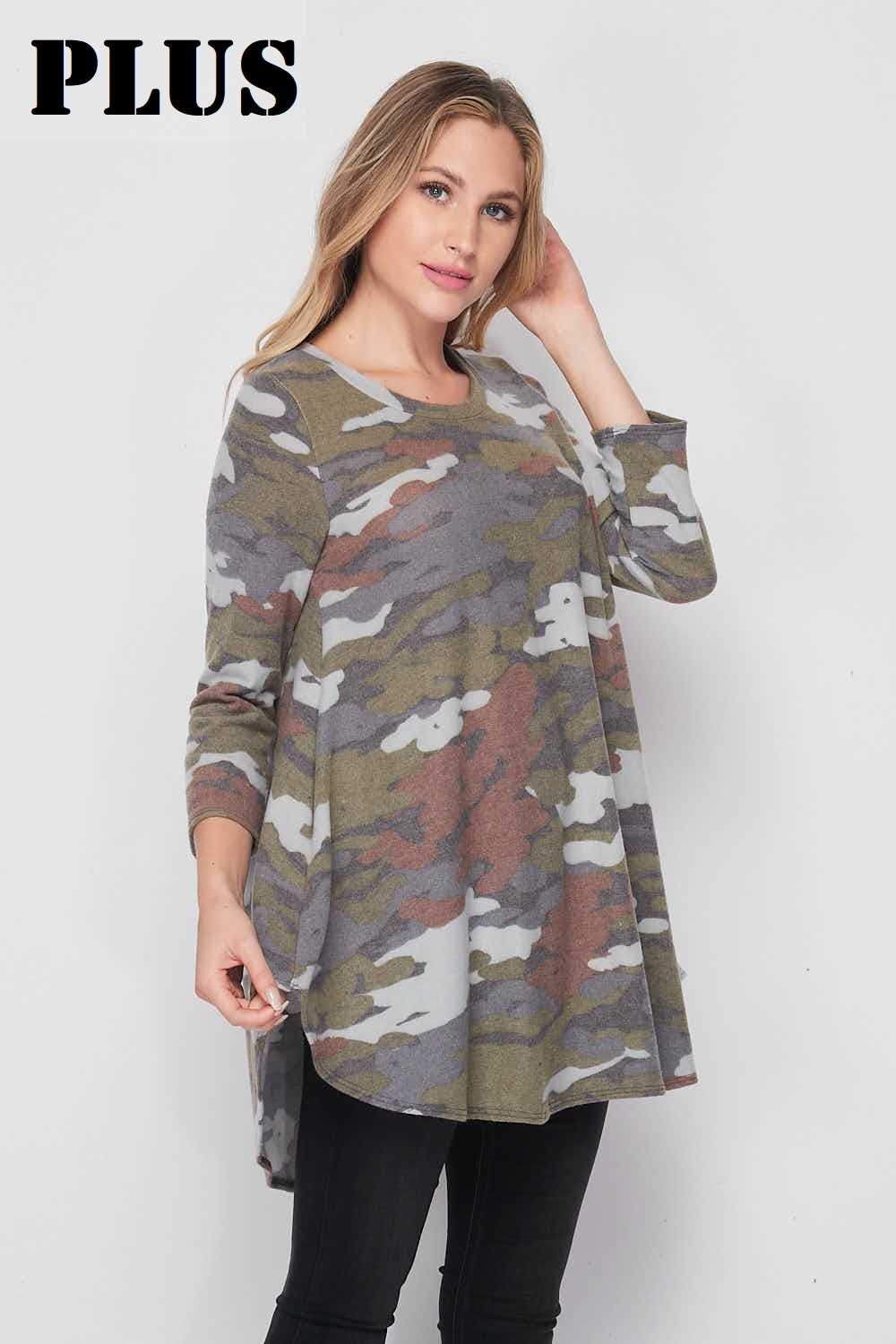 PLUS Color Mix Camo Soft Thin Knit Tunic