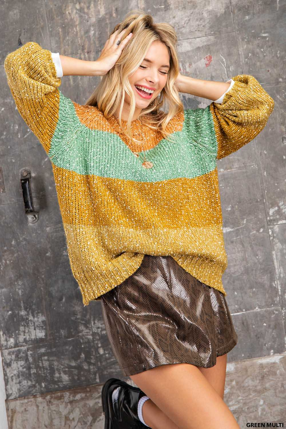 Color block Chunky Knit Sweater Top