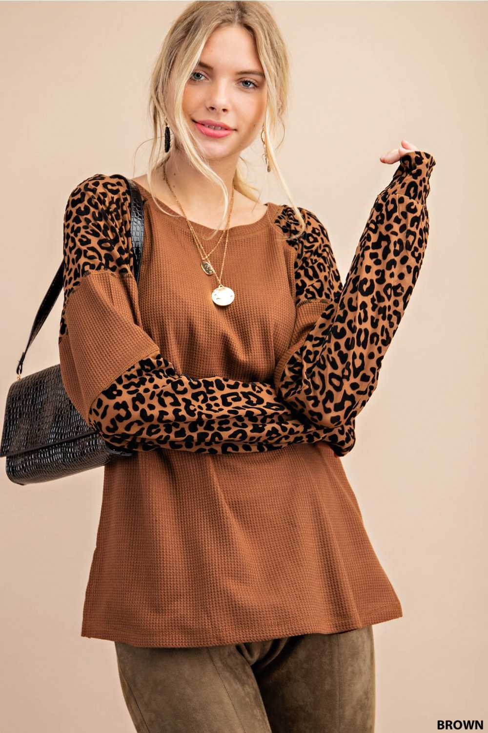 Leopard Print Contrast Sleeves Knit Sweater
