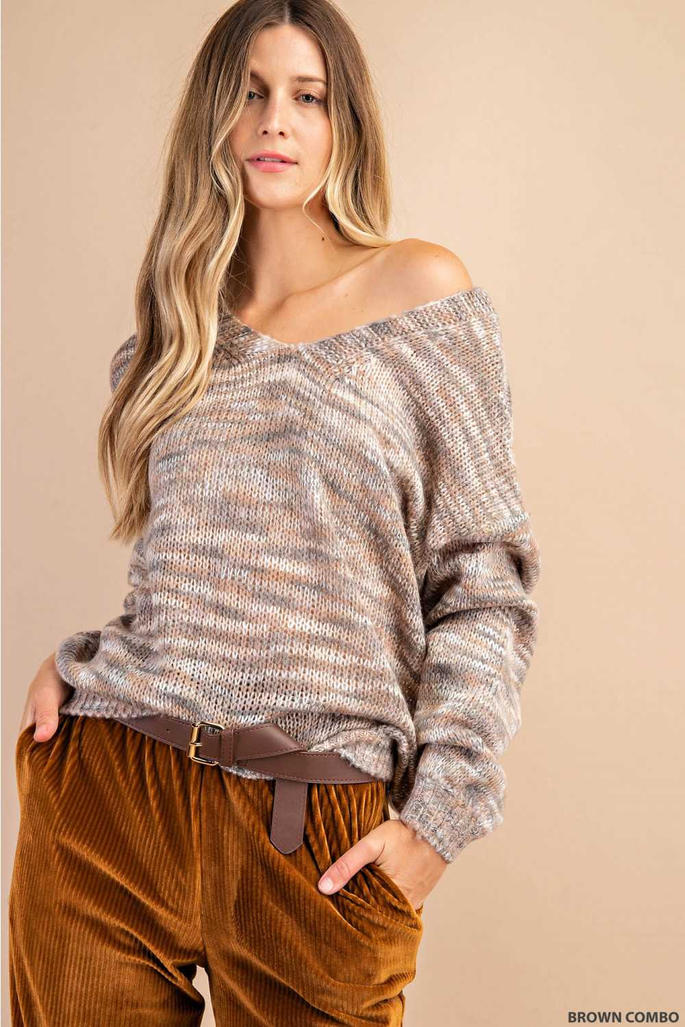 Relaxed Fit Cable Knit Color Mix Sweater