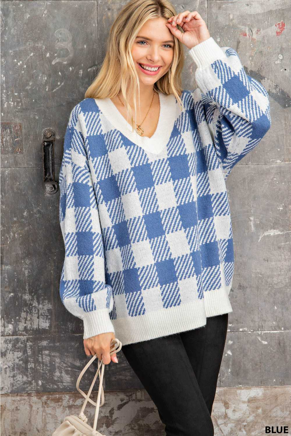 Vneck Blue Gingham Knit Pullover
