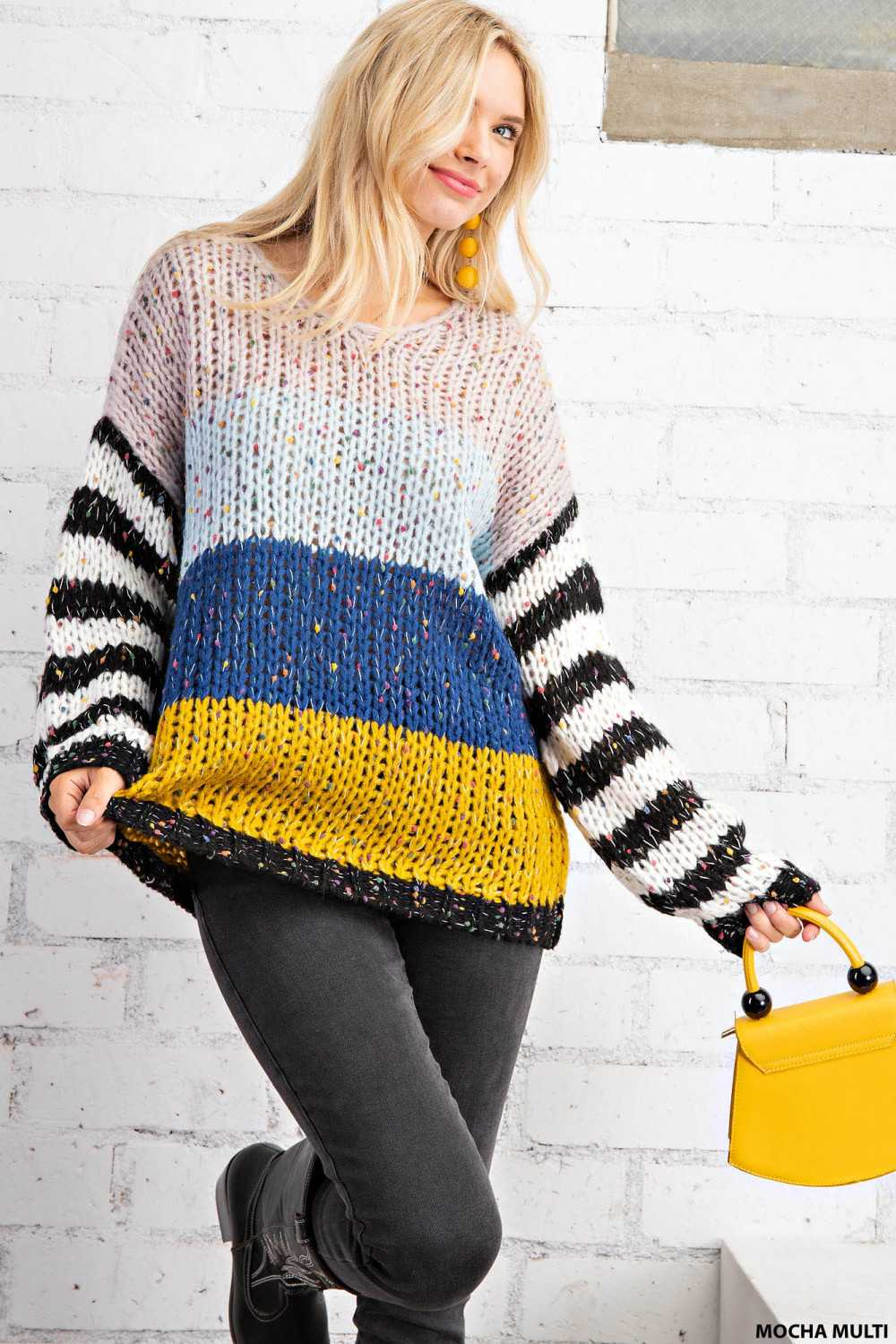 Striped Long Sleeves Cable Knit Pullover