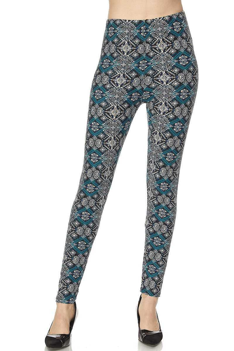 Aztec Tribal Print Yummy Brushed Ankle Leggings