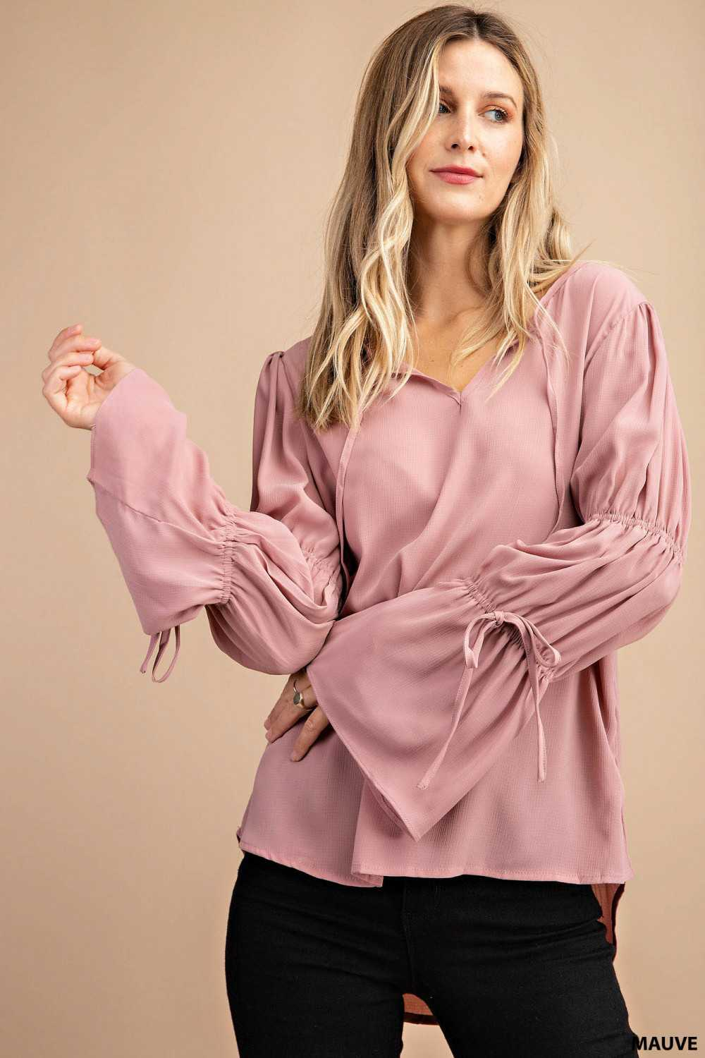 Solid Tiered Bell Sleeves Blouse Top