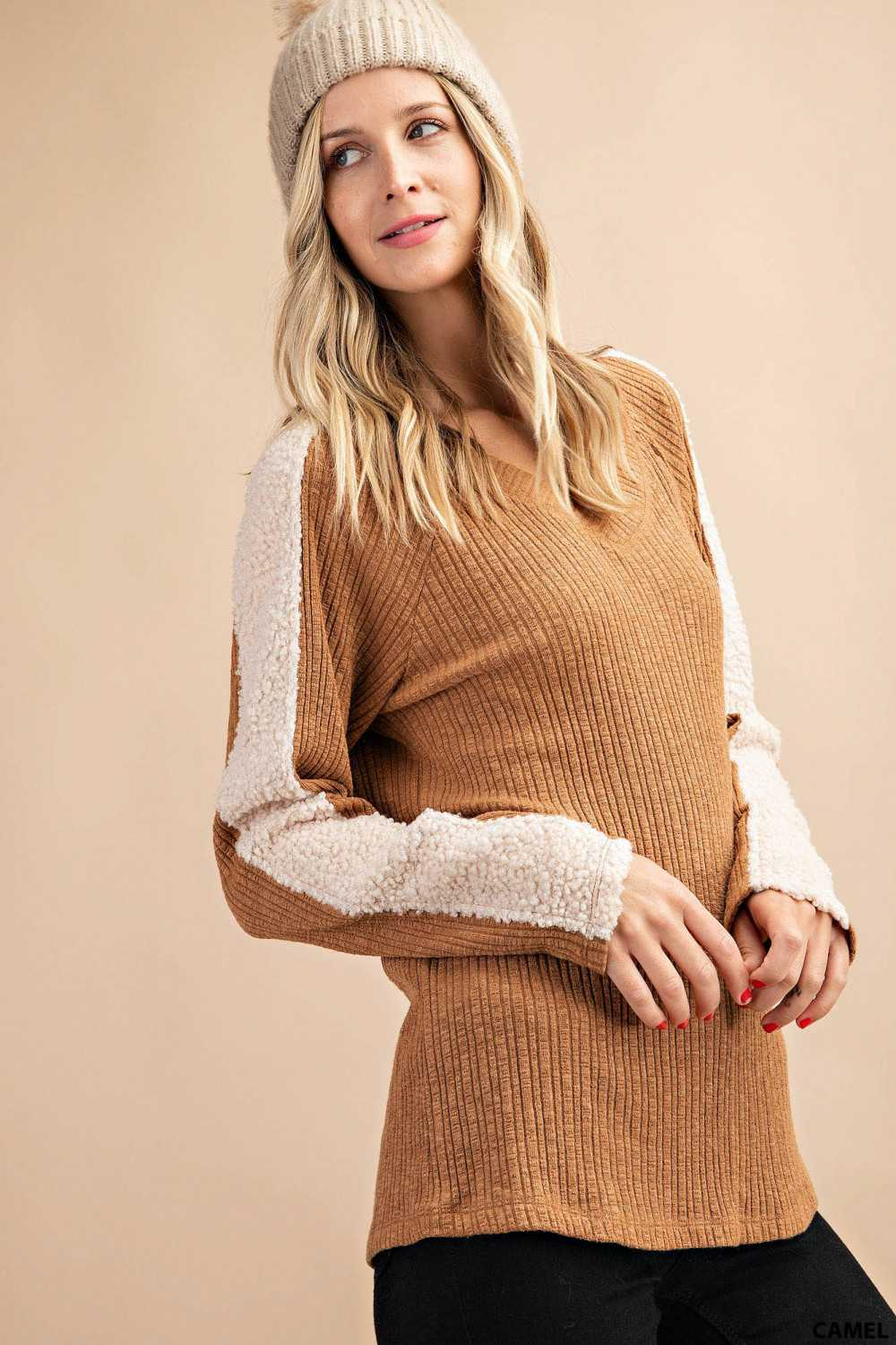 Solid Ribbed Sherpa Trim Knit Top