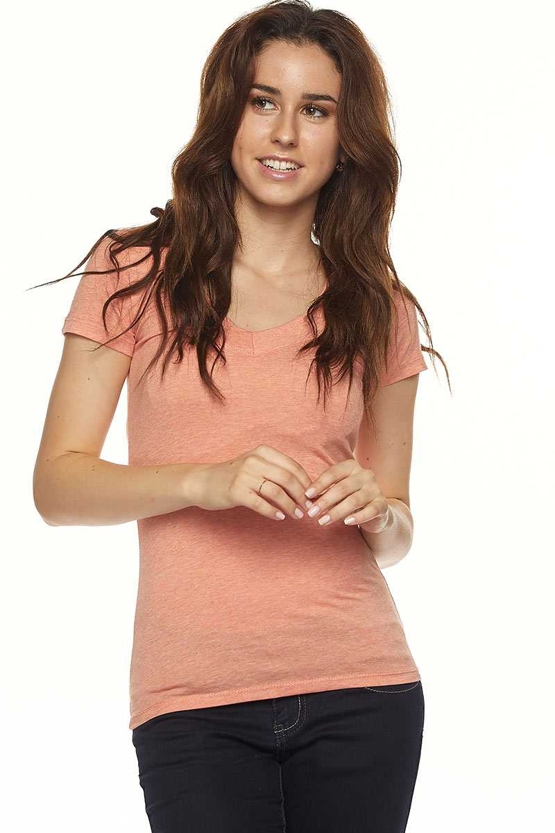 "Wide band V-neck top with 7"" sleeve."