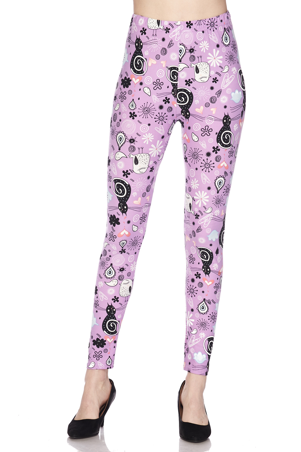 Cute Raindrop Swirls Print Brushed Leggings