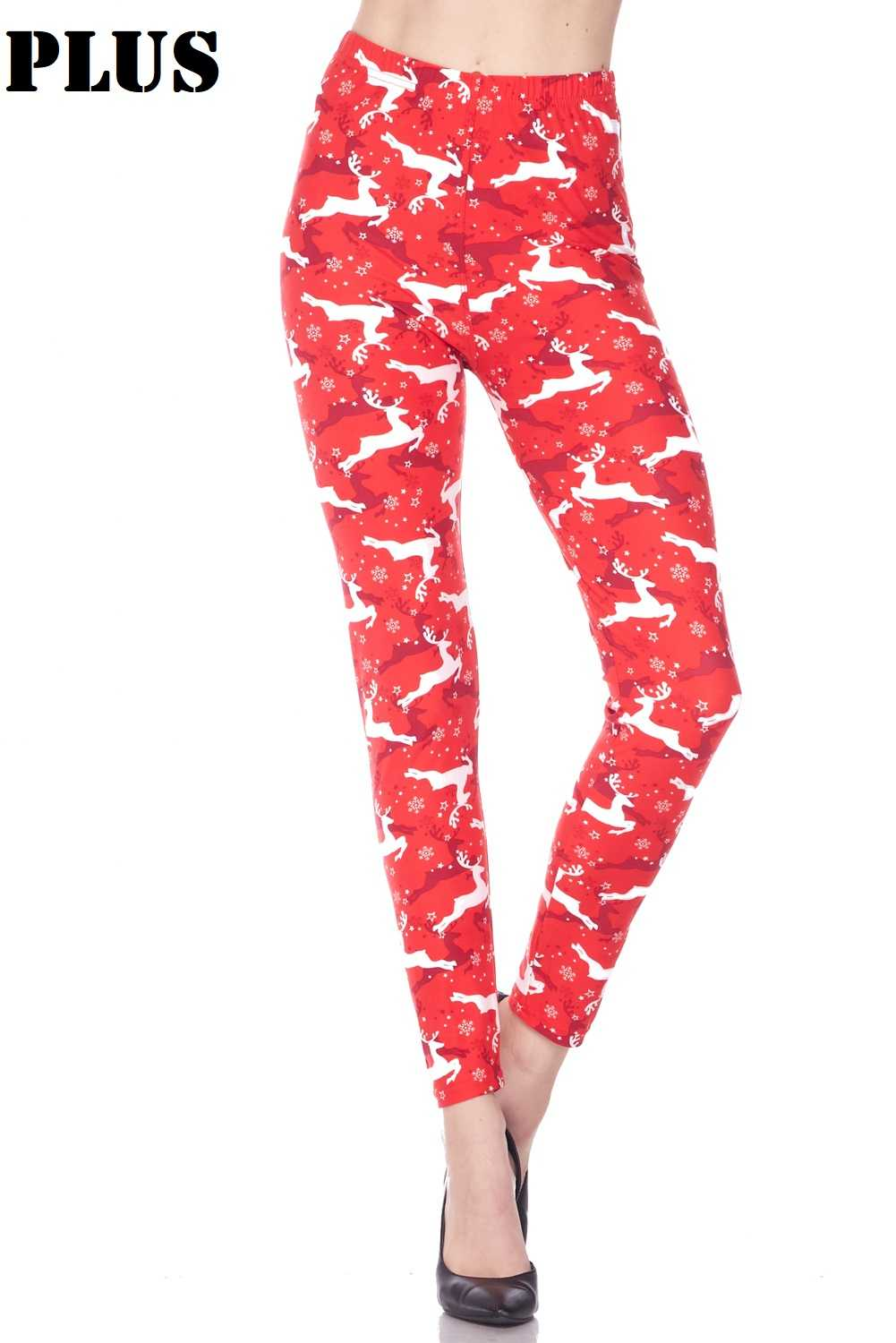 PLUS Christmas Santa Helper Printed Leggings