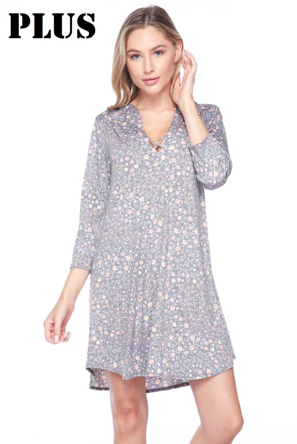 PLUS Faded Allover Tiny Floral Print V-Neck Dress
