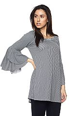 PLUS Stripe Print Top With Unfinished Bell Sleeves