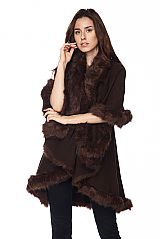 Faux Fur Detail Long Poncho