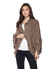 Faux Fur Trim Detailed Knit Cardigan