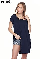 Plus Modal Rounded Hem Tunic Top