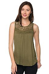 PLUS Lace Trim Bib Sleeveless Top