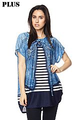 PLUS ITY Allover Denim Jacket Print Tunic Top