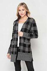 Checkered Long Line Side Slit Cardigan