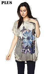 PLUS ITY Side Ruched Tunic Top w/ Floral Print