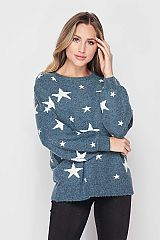 Fuzzy Textured Star Print Pullover Sweate