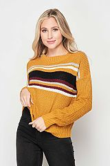 Color Striped Knit Pullover Sweater