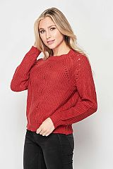 Cropped Length Acrylic Knit Sweater Top