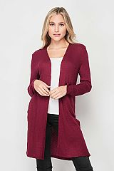Figure Hugging Waffle Knit Long Relaxed Cardigan