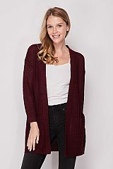 Solid Double Pocket Waffle Knit Cardigan