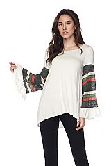 Solid Tunic Top With Knit Contrast Wide Sleeve