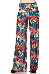 Leaves Print High Waisted Palazzo Pants with Unfinished Hem