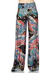 Multi Print High Waisted Palazzo Pants with Unfinished Hem
