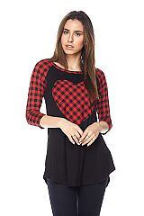 Checkered Print Top with Heart Patch