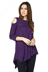 PLUS: Solid Cold Shoulder Tunic with Asymmetrical Hemline