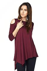Solid Cold Shoulder Tunic with Asymmetrical Hemline
