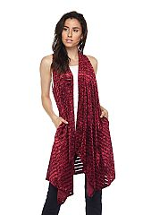 Solid Crushed Velvet Sleeveless Cardigan