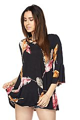 Feather Print Tunic With Unfinished Sleeve