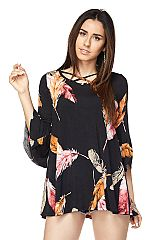 PLUS Feather Print Tunic With Unfinished Sleeve