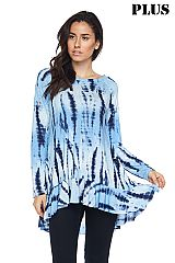 PLUS Oceantic Tie Dye Print Ruffle Hem Tunic Top