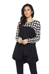 Houndstooth Contrast Over Solid Brushed Tunic