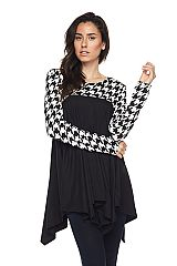 PLUS Houndstooth Contrast Over Solid Brushed Tunic